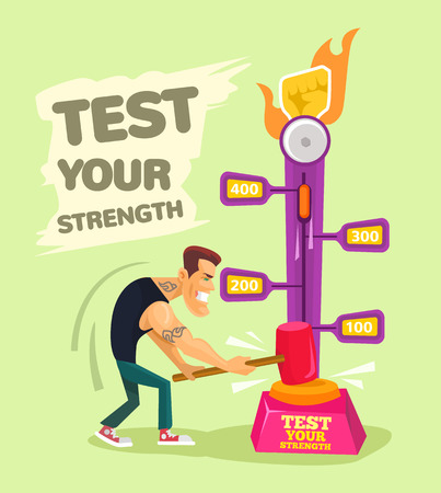 hammers: Test your strength. Vector flat illustration