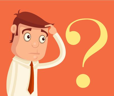 choose a path: Thinking businessman. Vector flat illustration