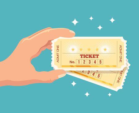 concert: Hand holds tickets. Vector flat illustration