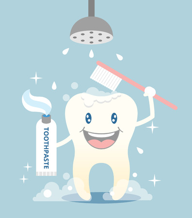 tooth paste: Tooth brushing and take shower. Vector flat illustration
