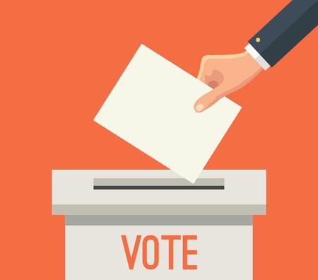 Installation du papier à la main de vote dans l'urne. Vector illustration plat