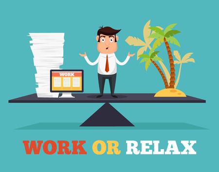 at leisure: Concept of life and work balance. Vector flat illustration