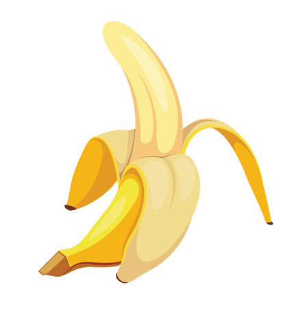Half peeled banana. Vector cartoon illustration