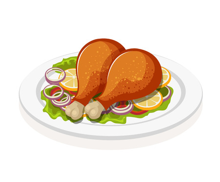 fried: Chicken leg. Vector flat illustration Illustration