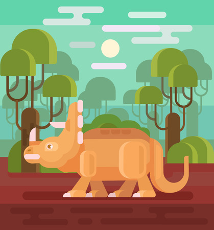 triceratops: Triceratops vector flat illustration