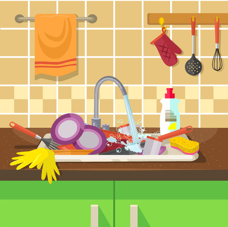 domestic kitchen: Dirty sink with kitchenware. Vector flat illustration
