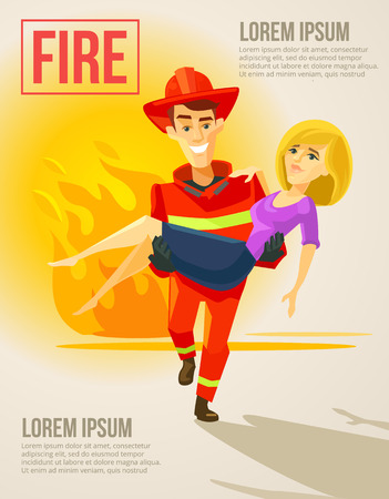 fire rescue: Fireman carrying girl. Vector flat illustration