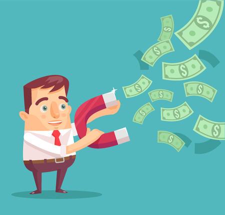 Businessman catches money with money magnet. Vector flat illustration Illustration