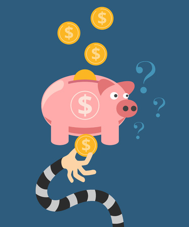 stealing: Hand stealing money from piggy bank. Vector flat illustration Illustration