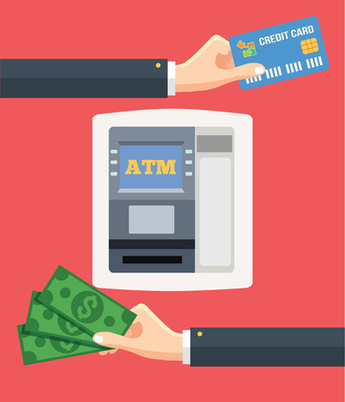 hand holding: ATM terminal and credit card cash bank service. Vector flat illustration
