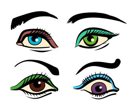 cilia: Vector color eyes illustration set