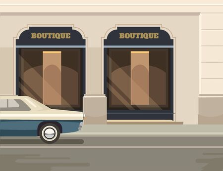 business graphics: Boutique street. Vector flat illustration