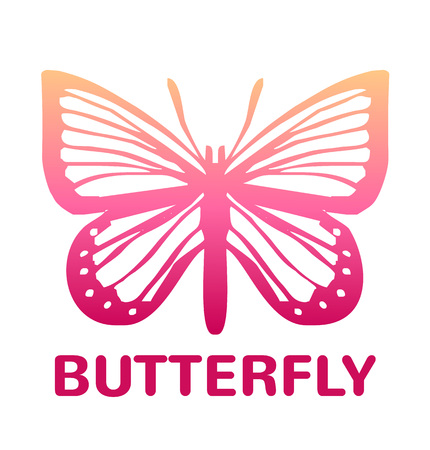 milkweed: Vector pink color butterfly icon illustration Illustration