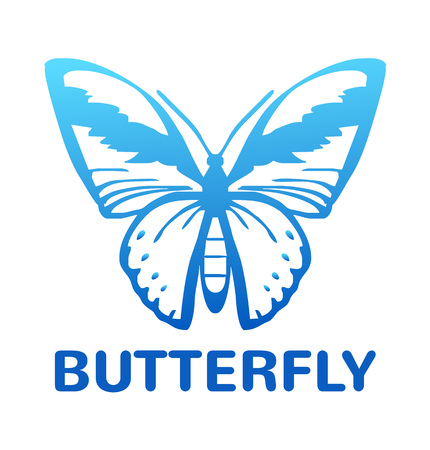 milkweed: Vector blue color butterfly icon illustration Illustration