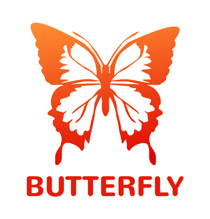 milkweed: Vector orange color butterfly icon illustration Illustration