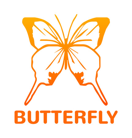 milkweed: Vector yellow color butterfly icon illustration