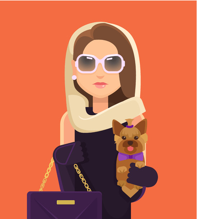 make up model: Fashion woman with little dog. Vector flat illustration
