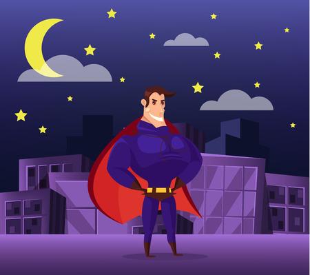 nights: Superhero standing on roof at nights. Vector flat cartoon illustration