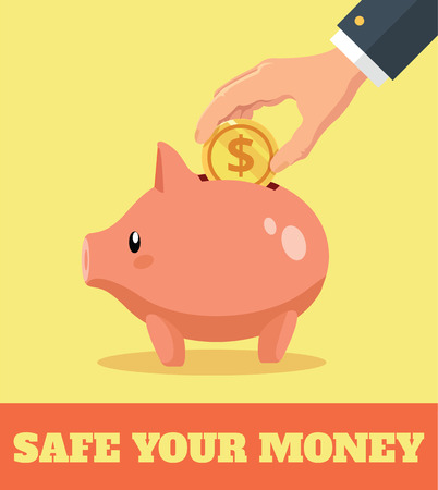 coin bank: Piggy bank and hand with gold coin. Vector flat illustration