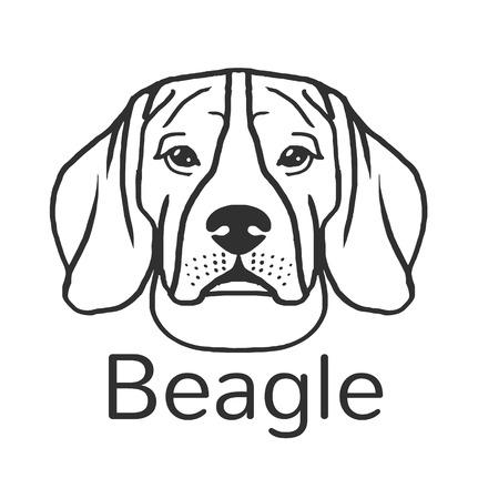 beagle: Beagle dog. Vector black icon illustration Illustration