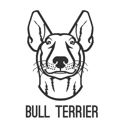 boston bull terrier: Bull terrier. Vector black icon  illustration Illustration