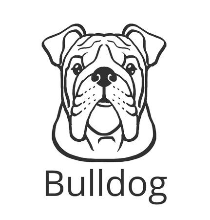 Bulldog vector negro icono ilustración