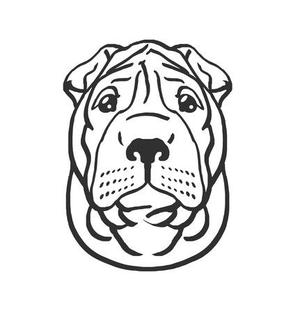 Dog head vector black icon illustration