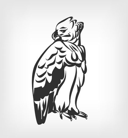 goshawk: Harpy vector black icon  illustration Illustration