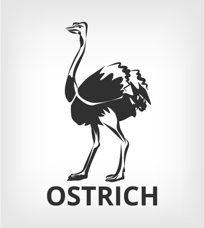 Ostrich vector black icon illustration
