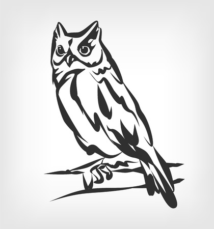 Owl vector black icon  illustration Çizim