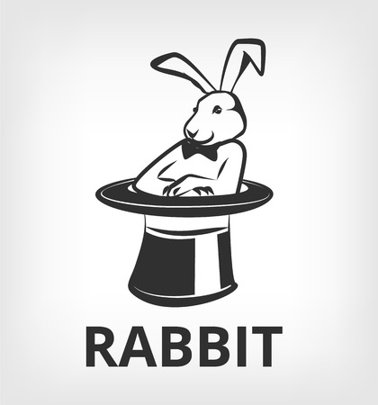 black people: Rabbit in magic hat. Vector black icon  flat illustration Illustration