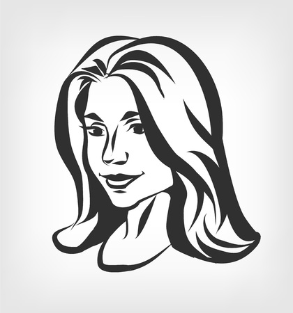 Beautiful female face. Vector black illustration