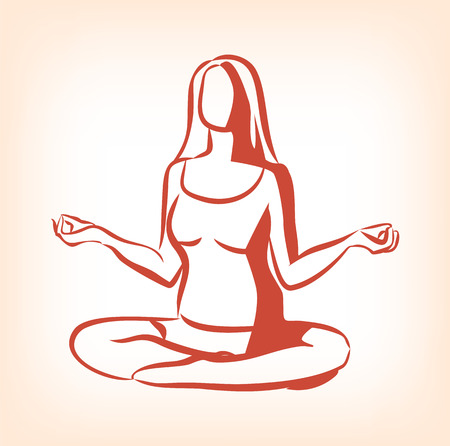 ashram: Woman sitting in yoga lotus position. Vector icon illustration