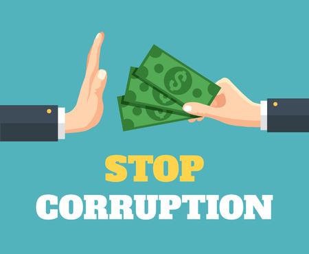 corrupcion: Detener la corrupción. Vector ilustración plana