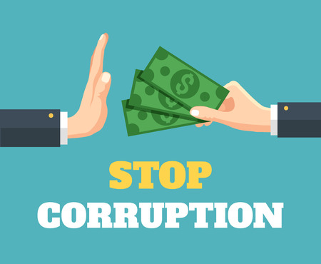 stop gesture: Stop corruption. Vector flat illustration Illustration