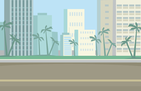 city road: Miami Skyline. Vector flat illustration