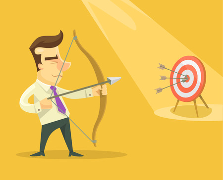 target thinking: Businessman with bow and arrow. Vector flat illustration