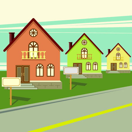 yards: Living houses for sale. Vector flat illustration Illustration