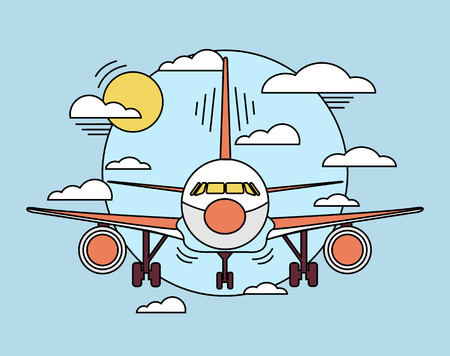 air plane: Vector airplane line illustration