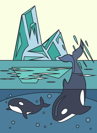 arctic zone: Arctic nature. Vector line illustration Illustration