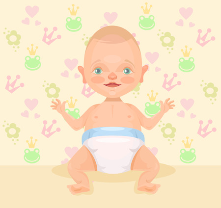 little boy and girl: Cute baby. Vector flat illustration