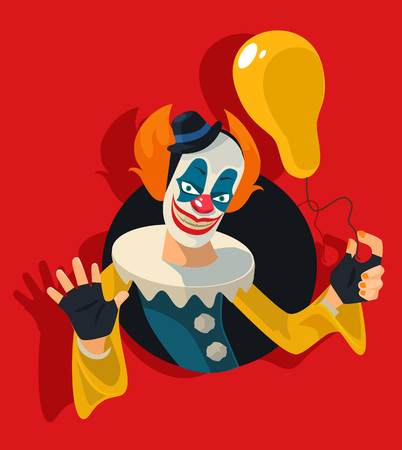 children face: Scary clown. Vector flat illustration