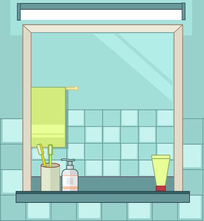 Interior of bathroom. Vector flat line illustration