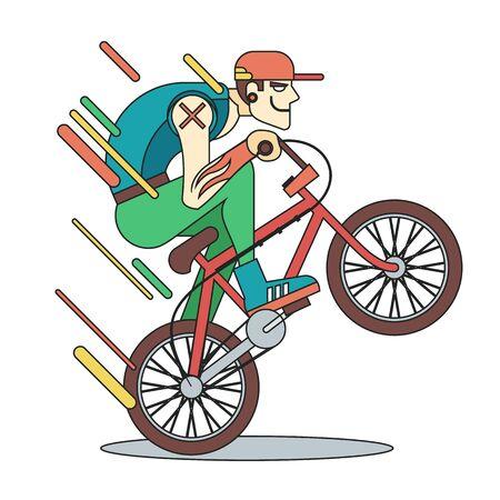 bicicleta vector: chico joven en la bicicleta. Vector ilustración línea plana