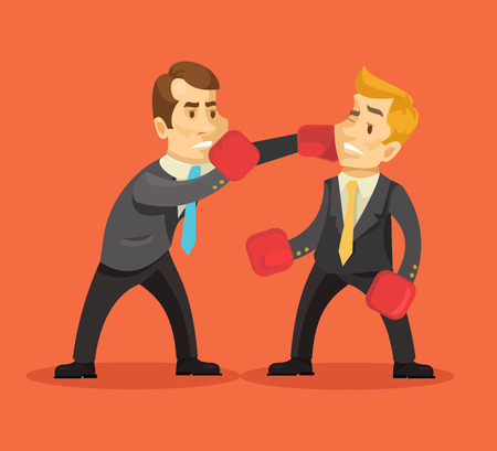 fight: Businessman fighting. Vector flat illustration