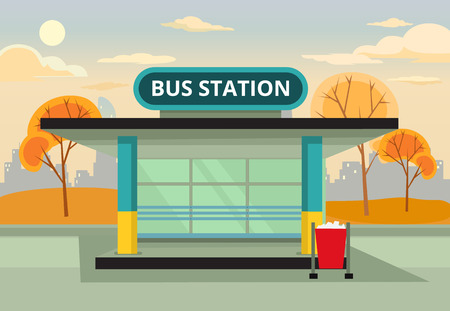 Bus stop station. Vector flat illustration Çizim