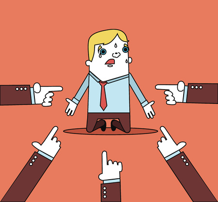 Businessman with hands pointing at him. Vector flat line illustration Vetores
