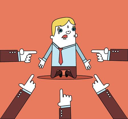 Businessman with hands pointing at him. Vector flat line illustration Illustration