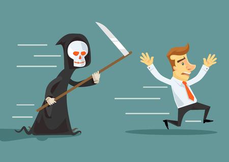 run away: Businessman run away from death. Vector flat illustration