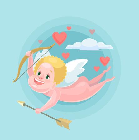 Cute little cupid. Vector flat illustration